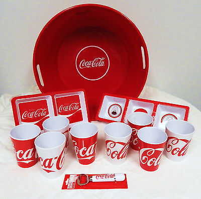 Coca-Cola party tub, 8 glasses, 2 trays and bottle opener