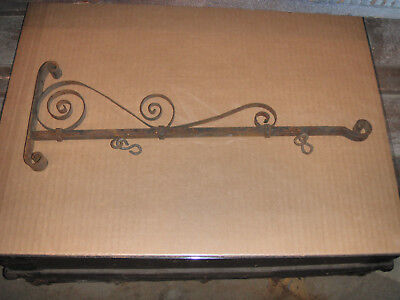 Antique Ornate Scrolled Wrought Iron Sign Bracket  Porcelain Signs, Name, Number