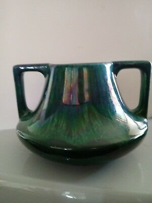 Arts Crafts Mission Turquoise Green Pottery Vase deco Early 20thc.Handles flambe