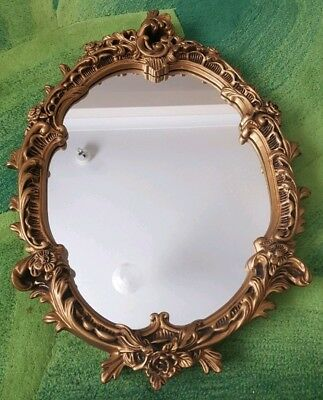 Large Antique Ornate Oval Gold Mirror Vintage Roccoco French Shabby Chic Plaster