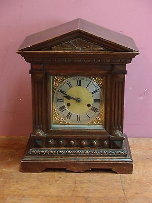 Antique  8 Day Edwardian Gong Striking Mantle Clock Architectural Oak Case