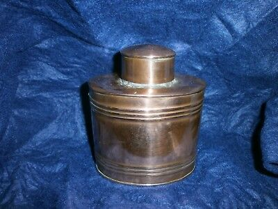 A Antique copper tea caddy. Henry Loveridge Arts And Crafts? Copper, Beaded.