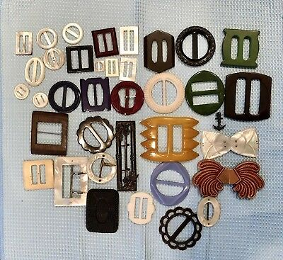 Vintage Lot Of 37 Buckles/ Scarf Slides - Mixed Bakelite And Plastic- No Reserve