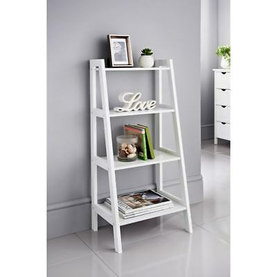4 Tier White Grey Ladder Shelf Display Unit Free Standing Book Stand Shelves