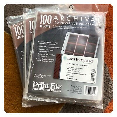 120-3HB (100) PrintFile Archival 6x4.5cm Negative Preservers/3 packages - NEW