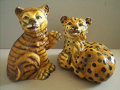Pair of Vintage Painted Plaster Tiger and Leopard CubWild Animal Figurines