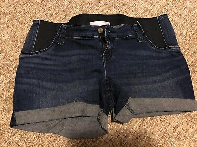 Maternity Shorts, Jean Shorts, Cuffed, Stretch Panel, Size 6, Isabel And Ingrid