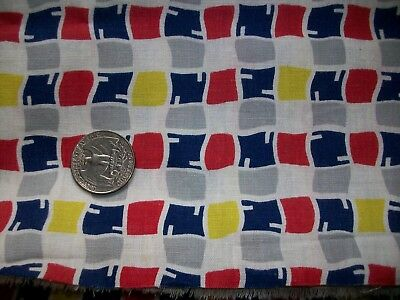Vintage 1940's Blue Orange Yellow Gray Geometric Cotton Fabric Quilt Apron