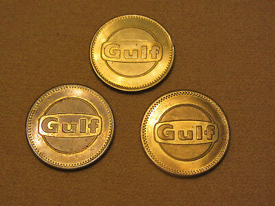 Lot of 3 Vintage GULF OIL GAS FREE CAR WASH TOKENS COINS - Advertising