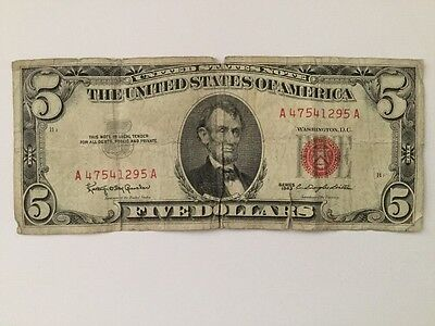 "1963 $ 5.00 Dlls US Note ""RED SEAL"""