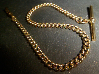 Vintage Gold Plated Albert Pocket Watch Chain with T-Bar and Dog Clip