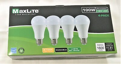 MAXLITE 4 Light Bulbs 15W LED Same As 100W Dimmable Soft White Super Long Life