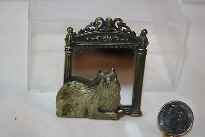 Miniature Dollhouse Jonette Cat in Mirror Brooch Pin Aged Brass Color 1:12 NR