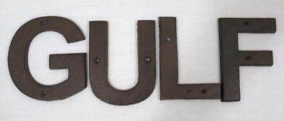 Gulf Gasoline Cast Iron Letters