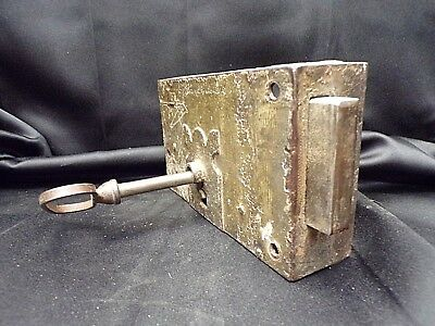 French Antique Large Cast Iron Lock with Key working condition - outdoor fixture