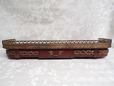 "antique French Empire mahogany & brass shelf with drawer - 26"" x 8"" x 5"""
