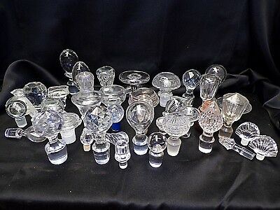 Lot of 44 Antique & Vintage COLLECTIBLE GLASS & CRYSTAL STOPPERS