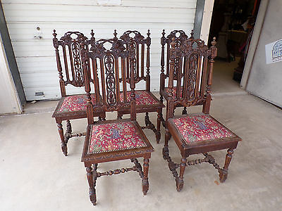 French Antique Henri II Set Of 5 Tapestry Seat Chairs Beautifully Hand Carved