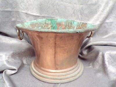 Antique French Large Wall Mounted Solid COPPER PLANTER - Antique Garden Decor