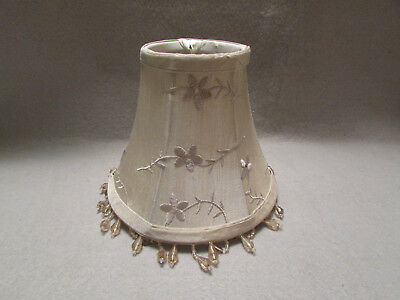 Vintage, frosted, silver, Art Deco, boudoir, table lamp shade with bulb hoop.