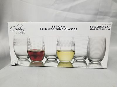 Mikes Cheers Stemless Wine Glasses Set of 6 Fine European LEAD-Free Crystal NEW