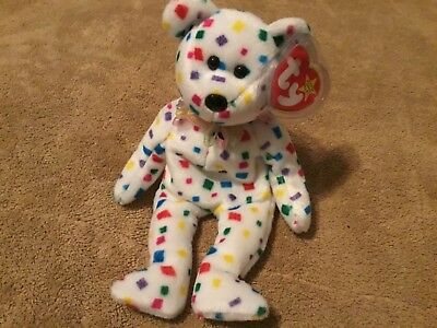 TY Beanie Baby Babies 2K White Confetti Bear Sprinkles 2000 tag protector