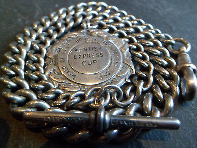 Antique 47g CHUNKY Albo Silver Albert Pocket Watch Chain + HM Solid Silver Fob