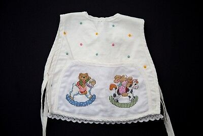 Vintage Cross Stich Embroidered Baby Bib Bear and Bunny