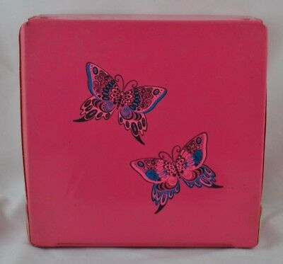 Vintage Vinyl Square Box Butterflys Wig Box Pink MCM Mid Century Kitsch