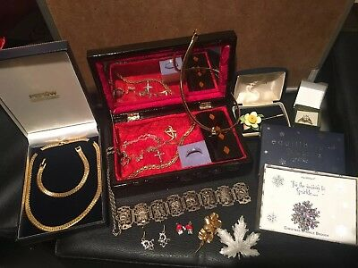 Job Lot of Vintage & Modern Jewellery With Jewellery Box New & Used