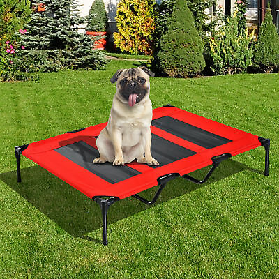"48"" x 36""x 9"" Elevated Pet Bed Raised Dog Cot w/ Carrying Bag Red Black"