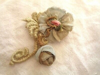 """Simply Charming Handmade Wild Rose With Lovely Rosebud & Old Silk 2 1/2"""""""