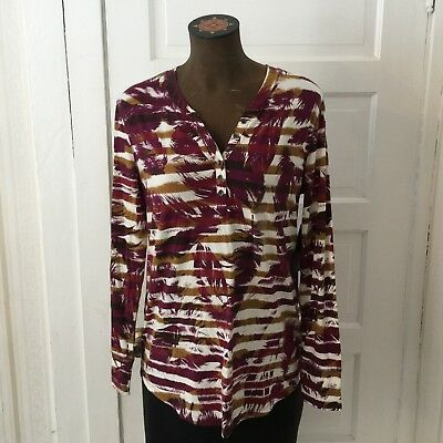 ee12193af42 Relativity Women s Blouse Top Size M Burgundy   White Feather Print 1 4  Button