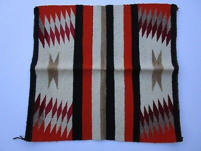 Antique Old Native American Indian Rug 31 Inches Geometric Folk Blanket Navajo
