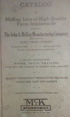 1939 McKay Farm Sturdybilt Implements Catalog - Dunn, North Carolina, rare