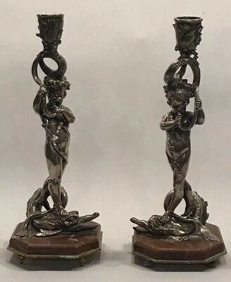Pr Antique Figural Candlesticks Boy W Dolphin/Serpant Sterling Silver Shades