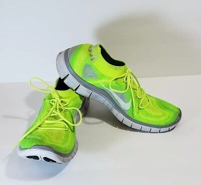 NIKE FREE 5.0 Flyknit Electric Highlighter Yellow Running Shoe Men's Size 13