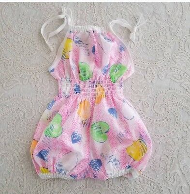 Vintage Baby Girl Bubble Romper Sun Suit Childrens Clothes 2t Deadstock NWT