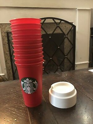 TEN (10) Brand New Starbucks Christmas Holiday Red Reusable 16oz 2018 Cups Lids
