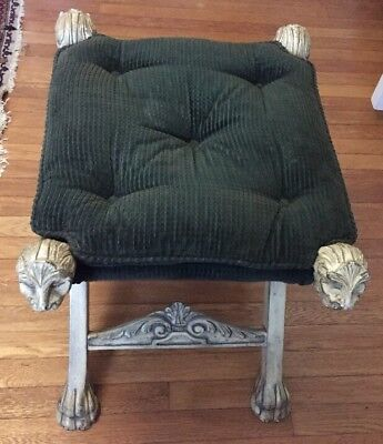 VTG. X Base Stool Louis XIII Style Ottoman Carved Wood Lions Heads & Feet Velvet