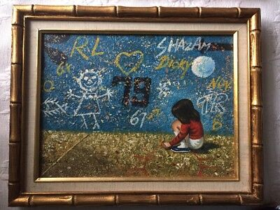 Vintage Painting Kids Graffitti Street Art Signed WALDEN Framed Kitschy 1970's