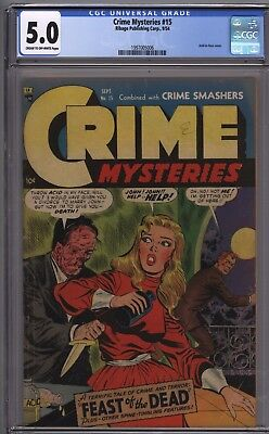 Crime mysteries #15 1954 acid in face cover CGC 5.0 VG/FN Gerber 6 Scarce