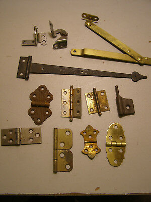 Lot of 12 Vintage Mateless Hinges One longer gothic hammered steel Couple Brass