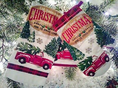 Country Christmas Vintage Red Truck Christmas Tree Towel & 2 Potholders Pc Set