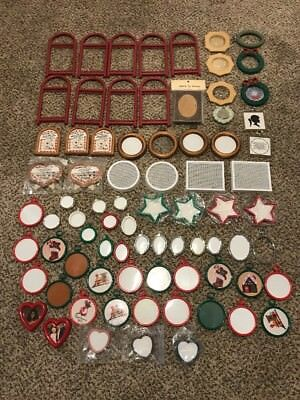 Lot of 78 Small Vintage Cross Stitch Craft Ornament Frames Round Oval Heart Star