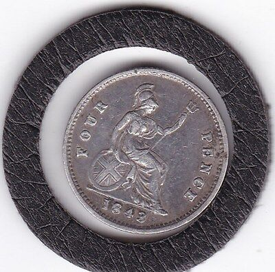 Early  Queen  Victoria  1843  Four  Pence  (Groat)  Coin  (92.5% Silver)