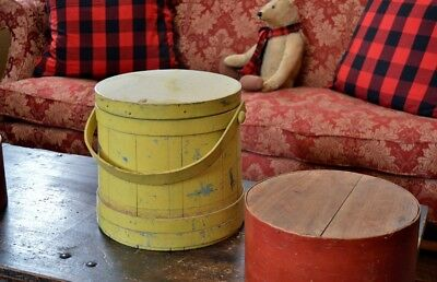 Large Antique 19th century Lidded Firkin in Early Painted Surface