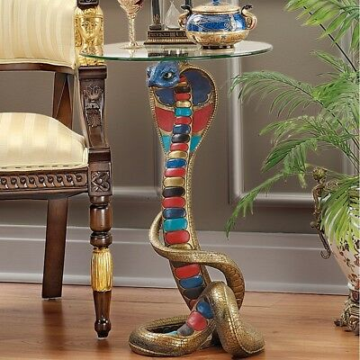 Egyptian Cobra Goddess Sculpture End Accent Table Statue w/Glass Top Handpainted