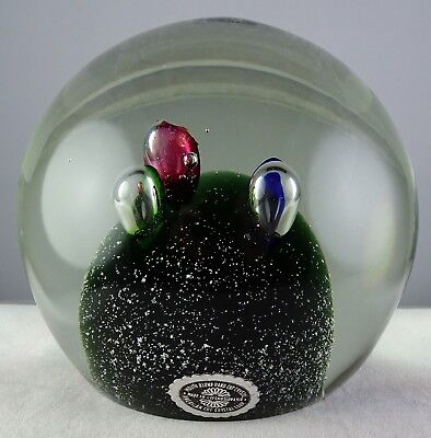 Magnum Czech Art Glass Paperweight Controlled Bubble Multicolor Green Base