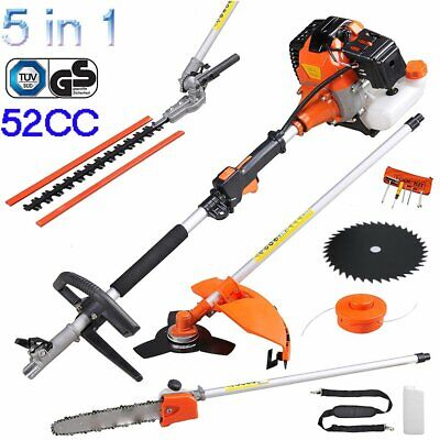 52cc 5 in 1 Petrol Hedge Trimmer Chainsaw Brushcutter Garden Multi Tool UK